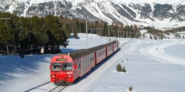 Train heading for Pontresina near Punt Muragl